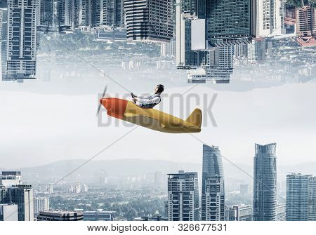 poster of Businessman flying in small airplane. Two modern urban worlds located upside down to each other. Funny man in aviator hat and goggles driving propeller plane. Business center with skyscrapers