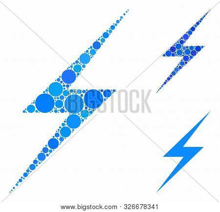 Lightning Mosaic For Lightning Icon Of Small Circles In Different Sizes And Shades. Vector Small Cir