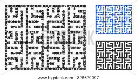 Labyrinth Mosaic For Labyrinth Icon Of Small Circles In Various Sizes And Color Tinges. Vector Small
