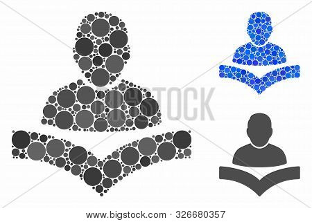 Reader Boy Mosaic For Reader Boy Icon Of Small Circles In Different Sizes And Color Hues. Vector Sma