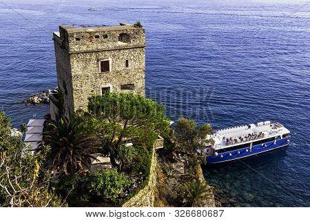 Monterosso Al Mare, Ligunia, Italy - September 21: Torre Aurora Castle On September 21, 2019 In Mont