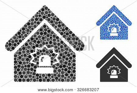 Realty Alarm Mosaic For Realty Alarm Icon Of Round Dots In Different Sizes And Color Hues. Vector Ro