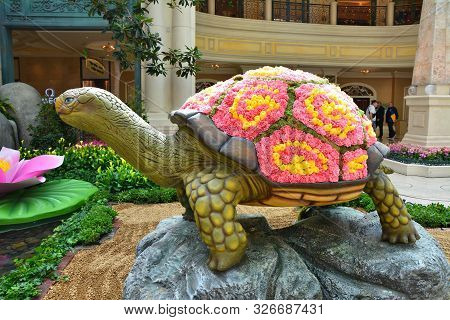 Las Vegas, Usa - March 20, 2018 : Bellagio Conservatory And Botanical Garden, Spring Display. Tortoi