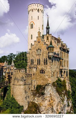 Closest Show To Lichtenstein Castle With Artistic Sky