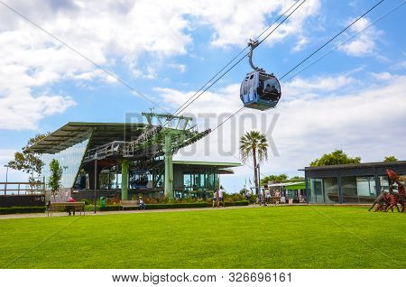 Funchal, Madeira, Portugal - Sep 10, 2019: Cable Car Station In The Madeiran Capital Connecting Func