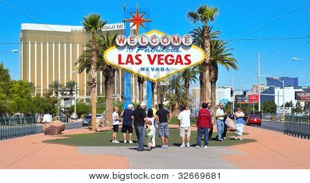 LAS VEGAS, US - OCTOBER 13: Welcome to Fabulous Las Vegas sign on October 13, 2011 in Vegas, US. The famous sign is located near Mandalay Bay, a luxury hotel casino with 3,309 rooms