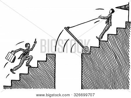 Freehand Pen Drawing Of Business Man Pulling Up A Drawbridge To Prevent A Rival From Catching Up On