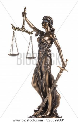 The Statue Of Justice Themis Or Iustitia Isolated On White Background