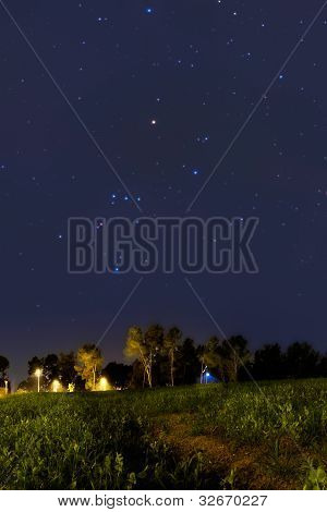Orion Constellation Setting At Dusk