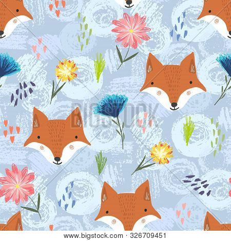 Cute Seamless Pattern With Cartoon Orange Foxes, Colorful Dots And Flowers On Grunge Shapes Backgrou