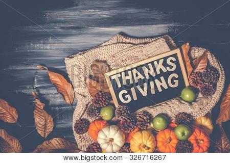 Top View Of Thanksgiving Concepts On Dark Background, Orange Pumpkin, Yellow Pumpkin, White Pumpkin,