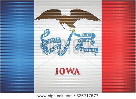 Shiny Grunge Flag Of The Iowa - Illustration,  Three Dimensional Flag Of Iowa