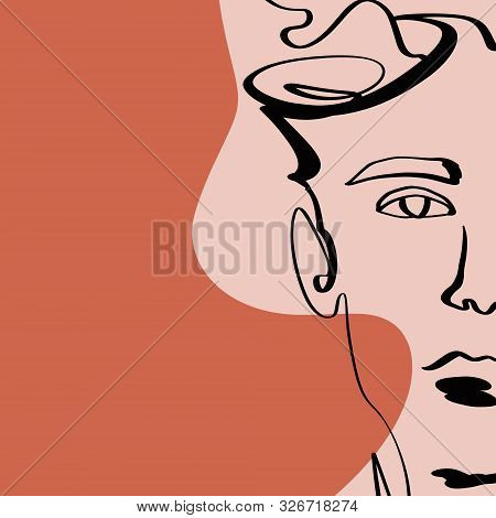 Terracotta Line Art Print Abstract Face Modern Digital Painting Fashion Scandinavian Style Color Abs