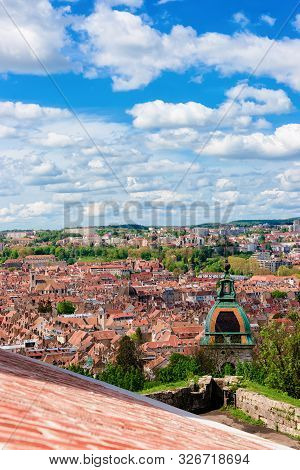 Cityscape And Cathedral From Citadel Of Besancon In Bourgogne