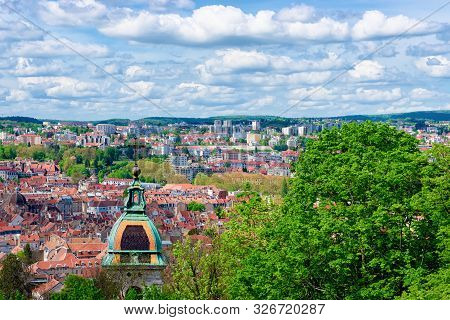 Cityscape With Cathedral From Citadel Of Besancon At Bourgogne
