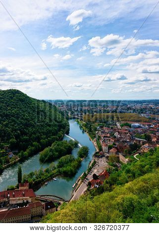 Landscape From Citadel Of Besancon And River Doubs Of Bourgogne