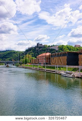 River Doubs And Citadel Of Besancon At Bourgogne