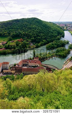 Landscape From Citadel In Besancon And River Doubs In Bourgogne