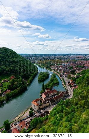 Landscape From Citadel Of Besancon And River Doubs In Bourgogne