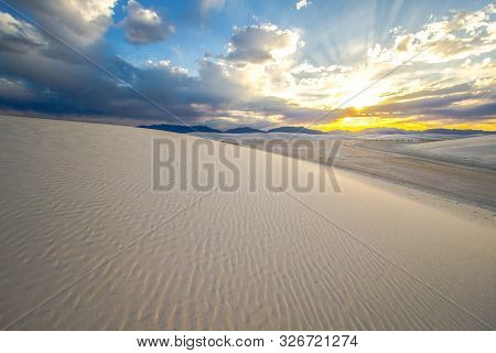 New Mexico Sunset Landscape. Sunset Over The Sacramento Mountains At The White Sands National Monume