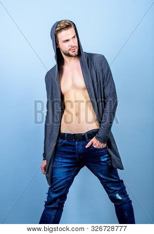 Sporty Handsome. Perfect Belly Body Of Muscular Man. Sexy Macho In Denim Style. Male Fashion And Bea