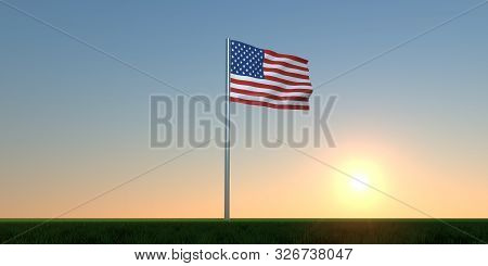 Usa Flag Extremely Detailed And Realistic 3D Illustration Of The American Flag