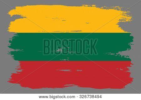 Lithuanian Flag With Red Green Yellow Stripes. Vector Lithuanian Flag Illustration With Cool Grunge