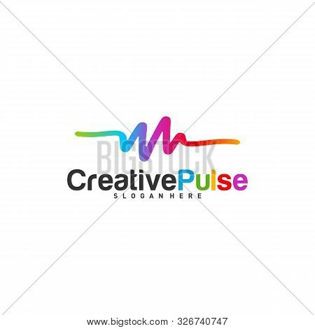 Colorful Pulse Logo Concepts Vector. Pulse People Logo Design Template Vector. Sound Waves Vector Il