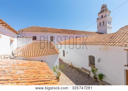 Sucre Bolivia September 24 San Miguel Church located in the historic center of Sucre is a spotlight to visit during a tour in the city. Shoot on September 24, 2019 poster