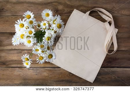Canvas Tote Bag Mockup With Daisy Bouquet. Rustic Lines Shopper Bag Mock Up For Branding Presentatio