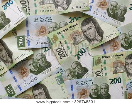 Mexican Banknotes Of 200 Pesos Unorganized, Background And Texture