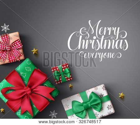 Christmas Gifts Vector Banner Background. Merry Christmas Greeting Typography Text In Empty Space Fo