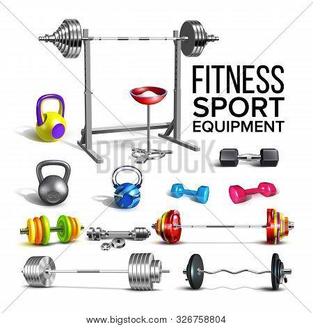 Barbells, Kettlebells And Dumbbells Set Vector. Collection Of Different Barbells Fitness Sport Equip