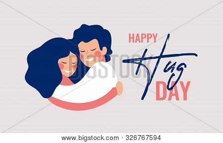 Happy Hug Day Greeting Card With Young People Hugging Each Other. Children Embrace With Love And Smi