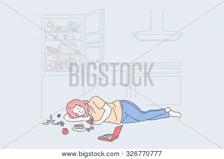 Diet End, Cheat Meal Day Concept. Woman Eating Tasty Nutritious Food Lying On Floor Near Open Fridge