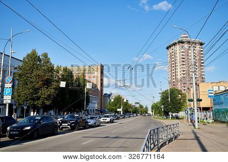 Kirov, Russia - July 16, 2019: Street With Cars In Provincial City Kirov On A Sunny Summer Day