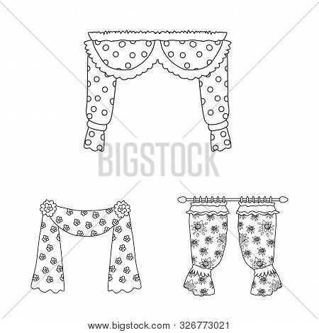 Vector Design Of Fabric And Decoration Symbol. Set Of Fabric And Cornice Stock Vector Illustration.