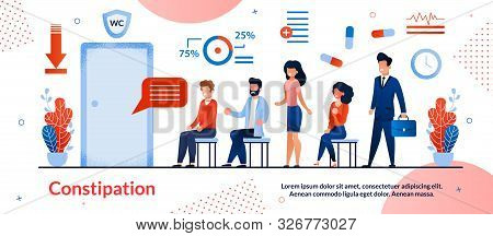 Constipation, Digestive Disorders Treatment Trendy Flat Vector Vector Banner, Poster Template. Suffe