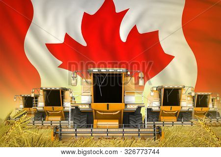Many Yellow Farming Combine Harvesters On Farm Field With Canada Flag Background - Front View, Stop