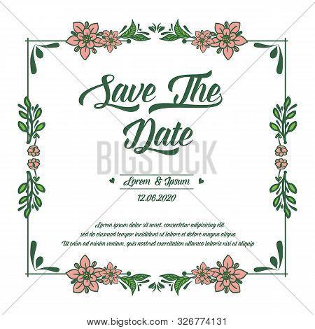 Border Pattern Of Leaf Flower Frame, For Elegant Card Save The Date. Vector