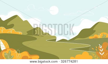 Mountain Landscape, Nature At Summer Time Background, Beautiful Green Hills, Trees, Bushes And Valle