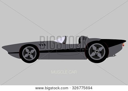 Convertible Custom Muscle Car, Side View Car, Fully Editable, Flat Design Style
