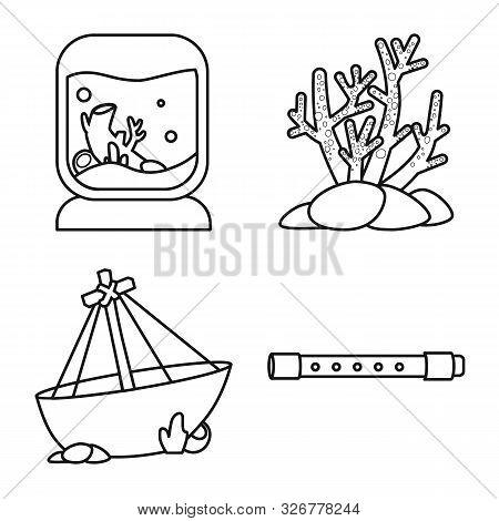 Vector Illustration Of Fishbowl And Accessory Symbol. Set Of Fishbowl And Care Stock Symbol For Web.
