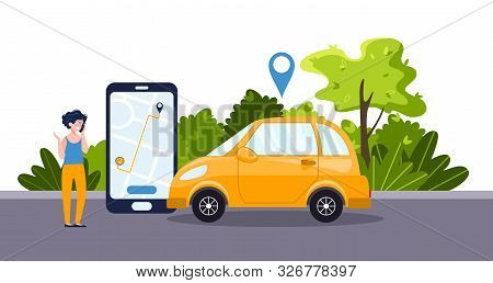 Car Sharing Service Concept With Positive Businesswoman, Telephone App, Yellow Car. Green Environmen