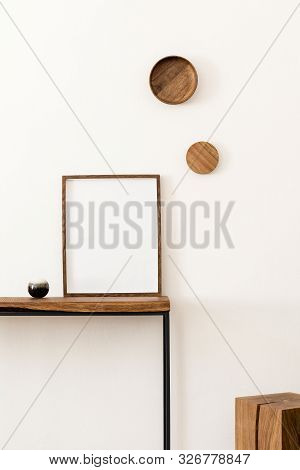 Design Scandinavian Interior Of Living Room With Wooden Console, Rings On The Wall, Mock Up Poster F