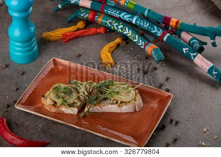 Fish Canapes - Smoked Butterfish With With Lemon And Wheat Sprouts