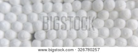 Close-up Look At Clean New White Cotton Swabs