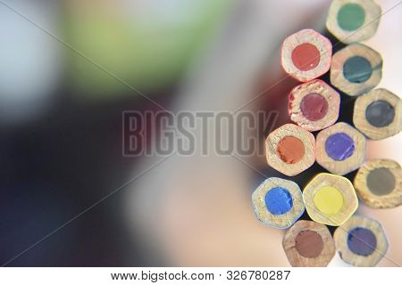 Selective Focus On The Back Side Of Colored Pencils