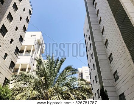 Rishon Le Zion, Israel  October 07, 2019: Residential Buildings And Plants   In Rishon Le Zion, Isra