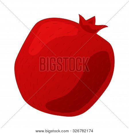 Red Pomegranate. Isolated White Background. Cutting Pomegranate. Fresh Pomegranate